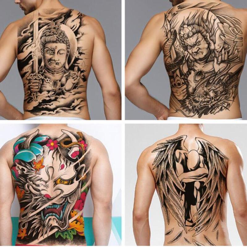 4835cm Big Size Buddha Ghost Totem Tattoo Stickers Men Women Waterproof Full Back Body Temporary Tattoos Rp2