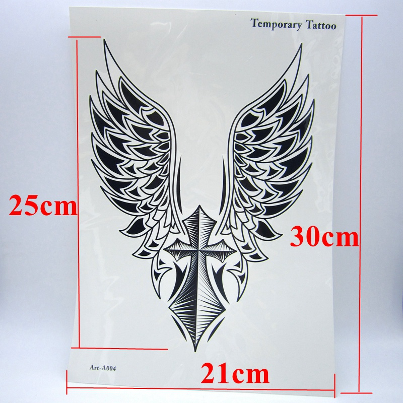 1pcs Big Cool Mens Cross Wing Tattoos Beautiful Arm Back Cross Wings Waterproof Large Temporary Tattoo Stickers For Men 30 21cm Temporary Tattoos